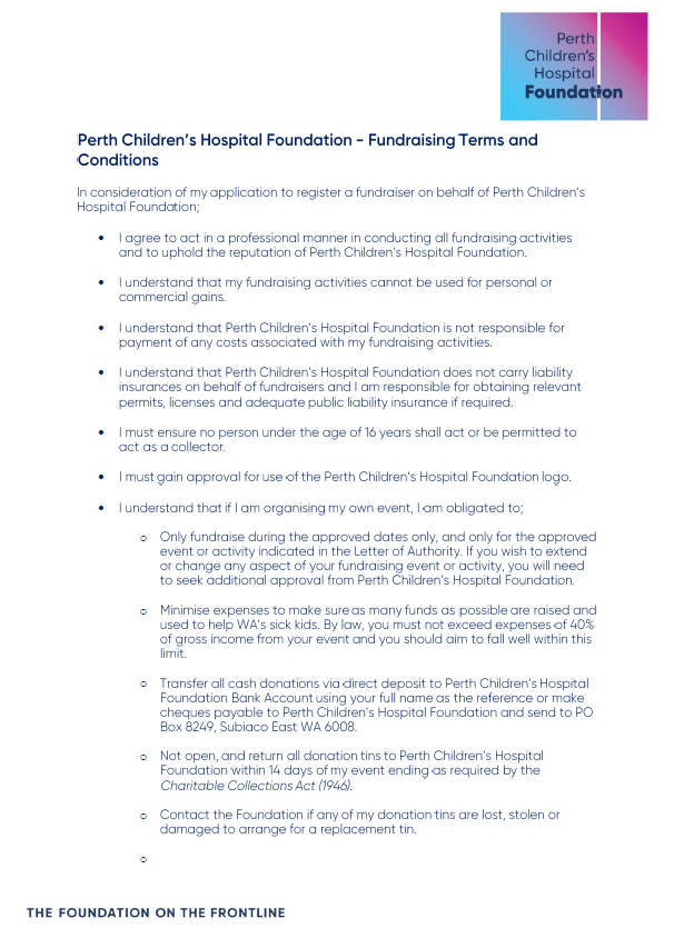 Fundraising Terms & Conditions